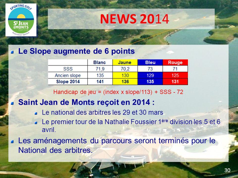 NEWS 2014 NEWS 2014 Le Slope augmente de 6 points Handicap de jeu = (index x slope/113) + SSS - 72 Saint Jean de Monts reçoit en 2014 : Le national de