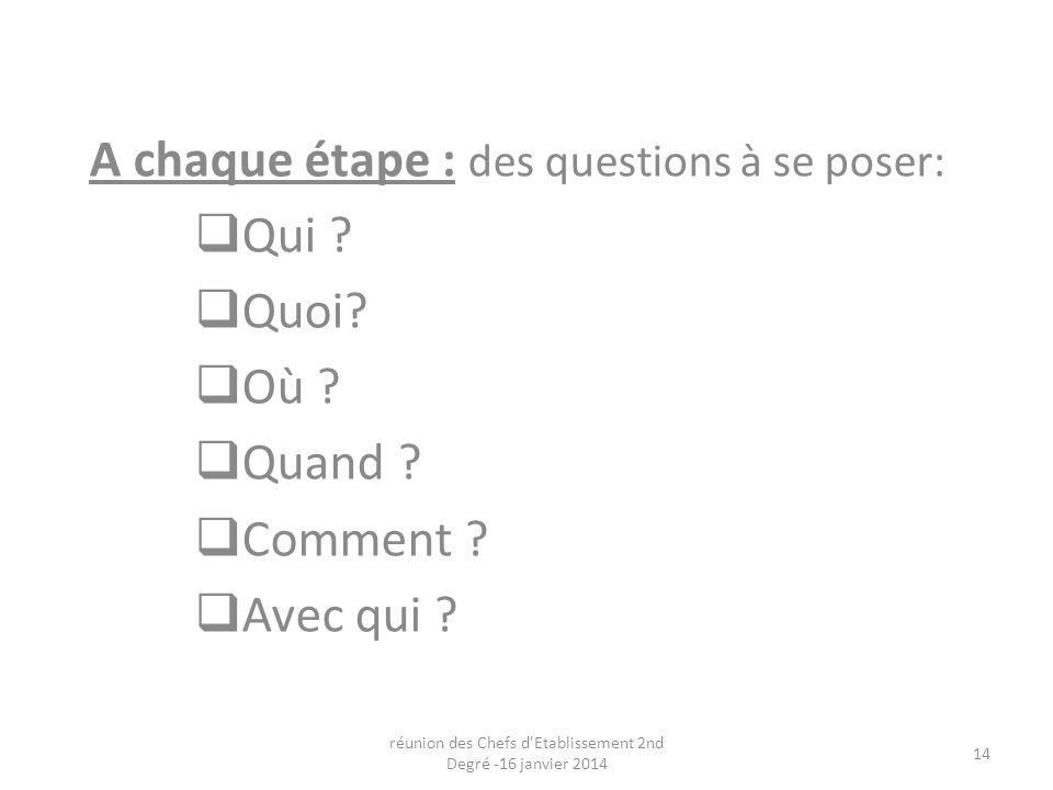 A chaque étape : des questions à se poser: Qui . Quoi.