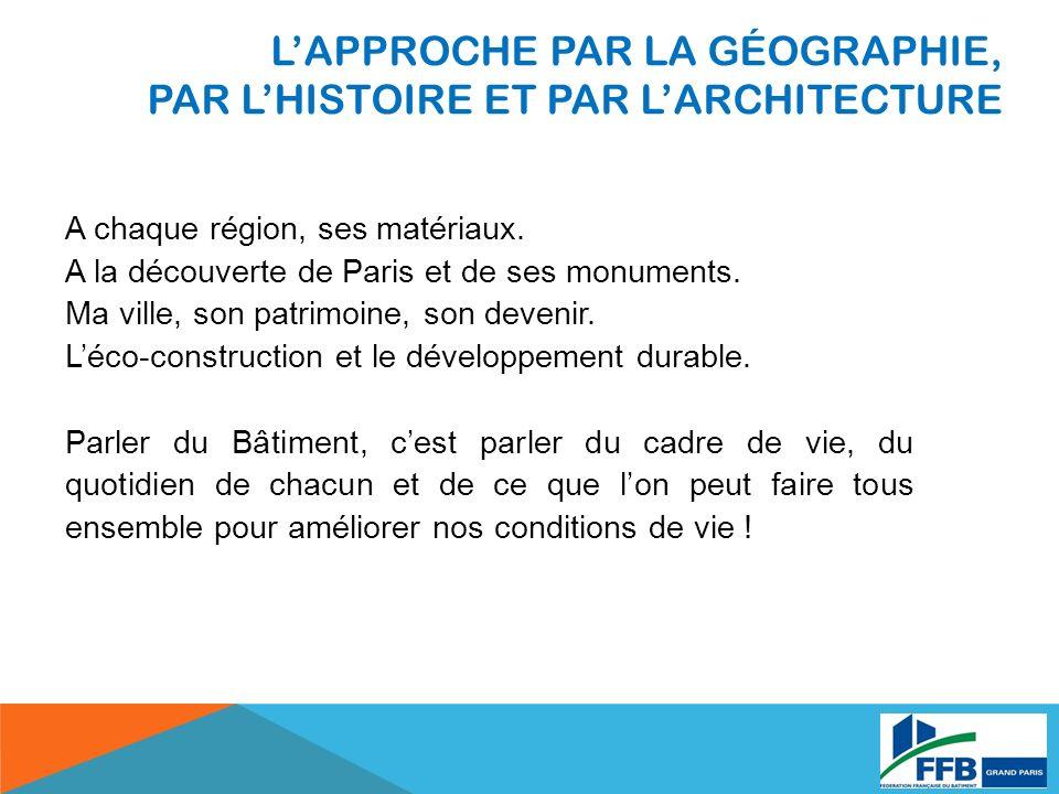 LAPPROCHE PAR LA GÉOGRAPHIE, PAR LHISTOIRE ET PAR LARCHITECTURE A chaque région, ses matériaux.