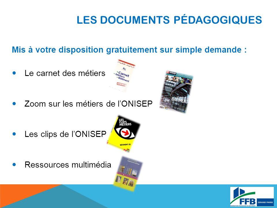 LES DOCUMENTS PÉDAGOGIQUES Mis à votre disposition gratuitement sur simple demande : Le carnet des métiers Zoom sur les métiers de lONISEP Les clips de lONISEP Ressources multimédia
