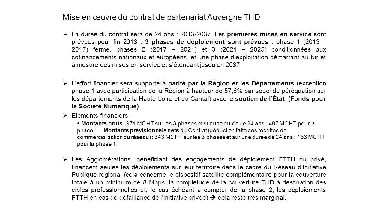 Mise en œuvre du contrat de partenariat Auvergne THD La durée du contrat sera de 24 ans : 2013-2037. Les premières mises en service sont prévues pour