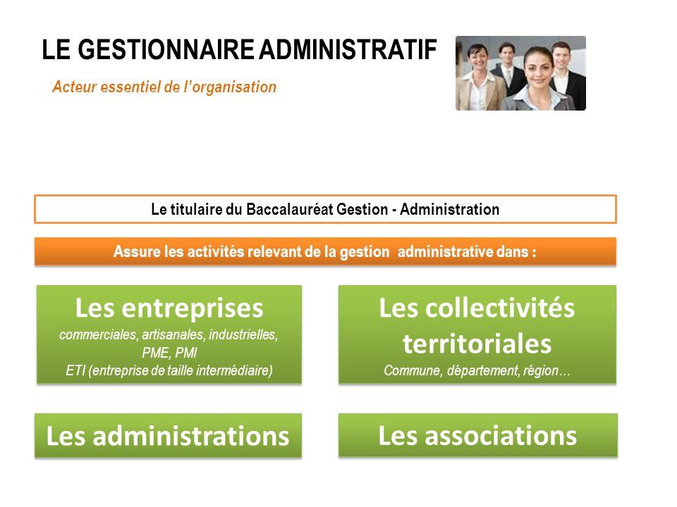 LE GESTIONNAIRE ADMINISTRATIF Acteur essentiel de lorganisation Le titulaire du Baccalauréat Gestion - Administration Assure les activités relevant de