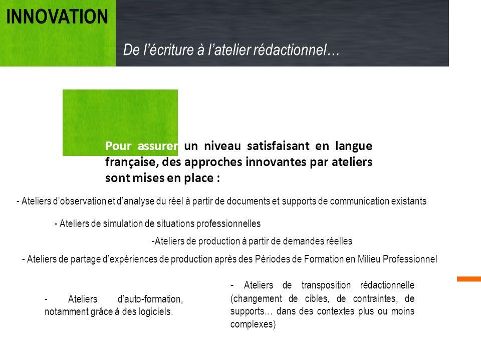 Pour assurer un niveau satisfaisant en langue française, des approches innovantes par ateliers sont mises en place : De lécriture à latelier rédaction