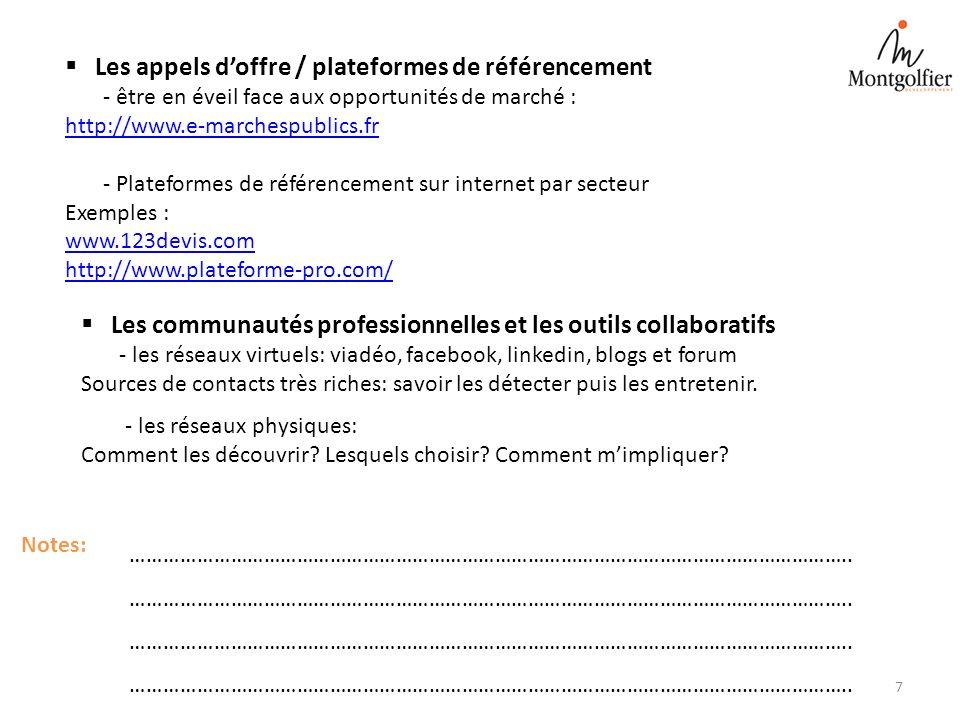 Les appels doffre / plateformes de référencement - être en éveil face aux opportunités de marché : http://www.e-marchespublics.fr - Plateformes de réf