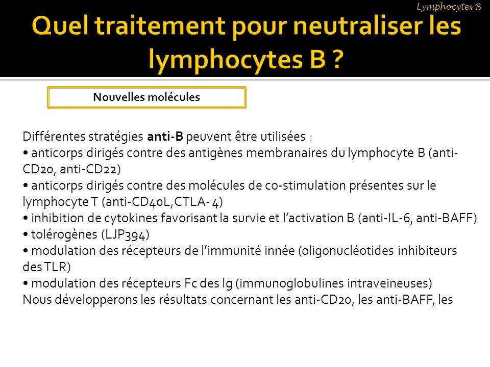 Différentes stratégies anti-B peuvent être utilisées : anticorps dirigés contre des antigènes membranaires du lymphocyte B (anti- CD20, anti-CD22) ant