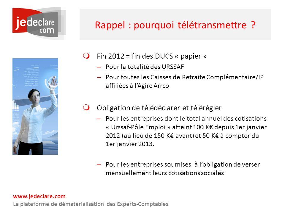www.jedeclare.com La plateforme de dématérialisation des Experts-Comptables Rappel : pourquoi télétransmettre ? Fin 2012 = fin des DUCS « papier » – P
