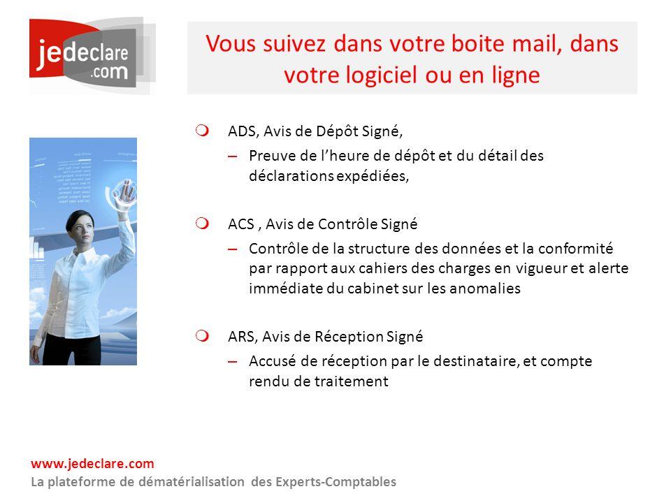 www.jedeclare.com La plateforme de dématérialisation des Experts-Comptables Vous suivez dans votre boite mail, dans votre logiciel ou en ligne ADS, Av