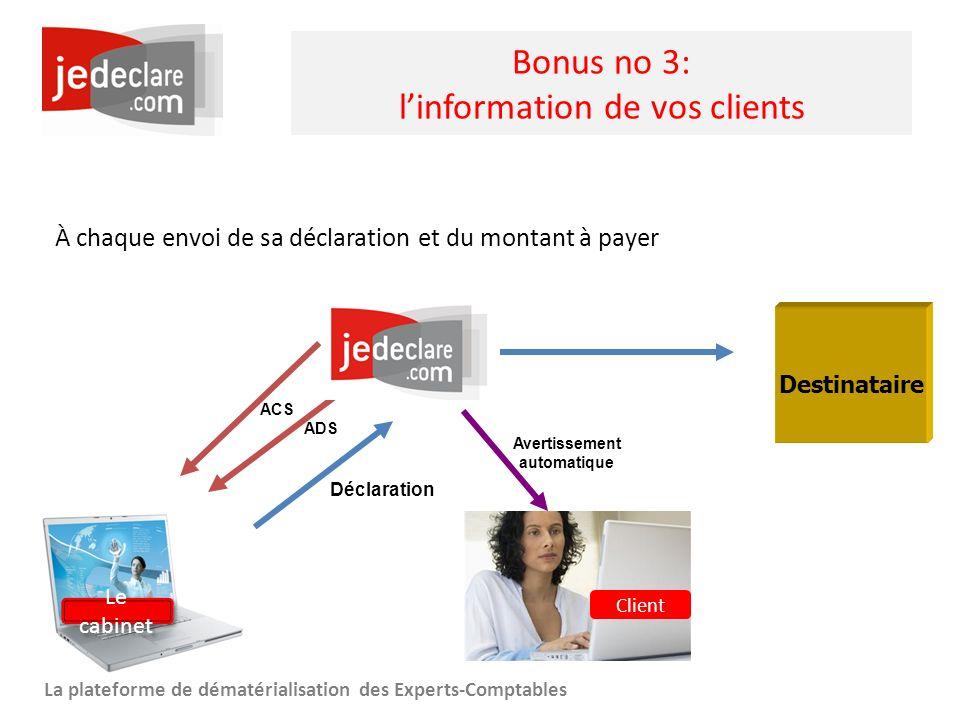 www.jedeclare.com La plateforme de dématérialisation des Experts-Comptables Bonus no 3: linformation de vos clients À chaque envoi de sa déclaration e