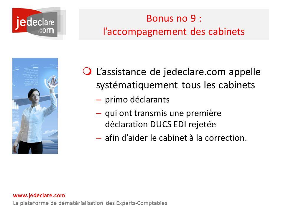 www.jedeclare.com La plateforme de dématérialisation des Experts-Comptables Bonus no 9 : laccompagnement des cabinets Lassistance de jedeclare.com app