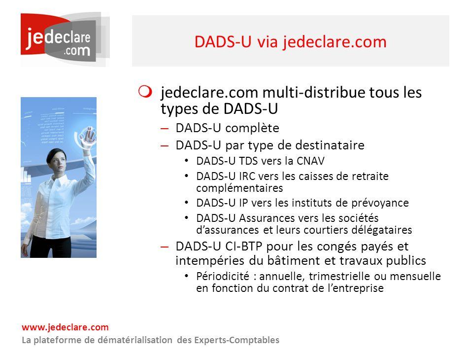 www.jedeclare.com La plateforme de dématérialisation des Experts-Comptables DADS-U via jedeclare.com jedeclare.com multi-distribue tous les types de D