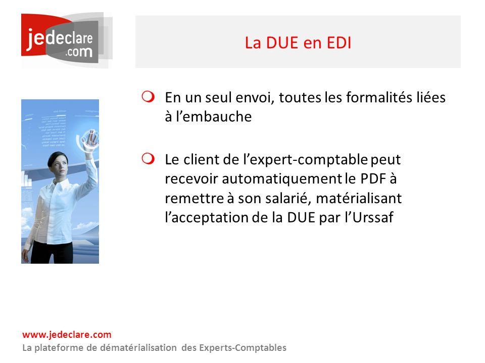 www.jedeclare.com La plateforme de dématérialisation des Experts-Comptables La DUE en EDI En un seul envoi, toutes les formalités liées à lembauche Le