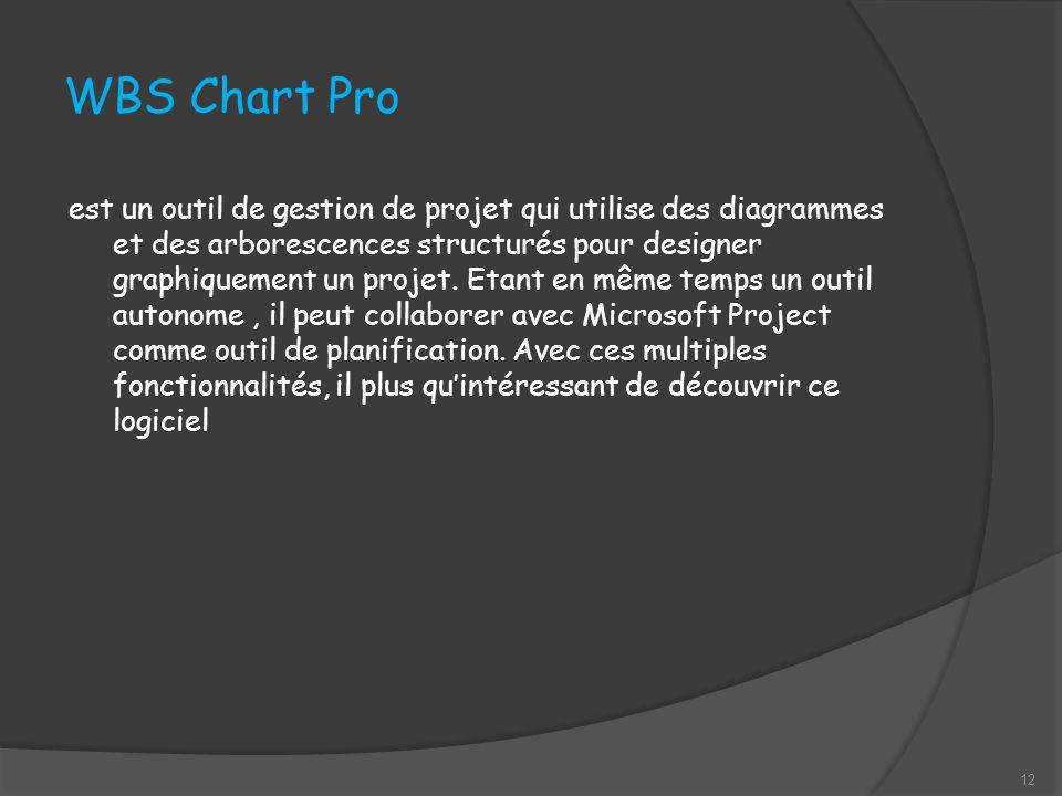 WBS Chart Pro est un outil de gestion de projet qui utilise des diagrammes et des arborescences structurés pour designer graphiquement un projet.