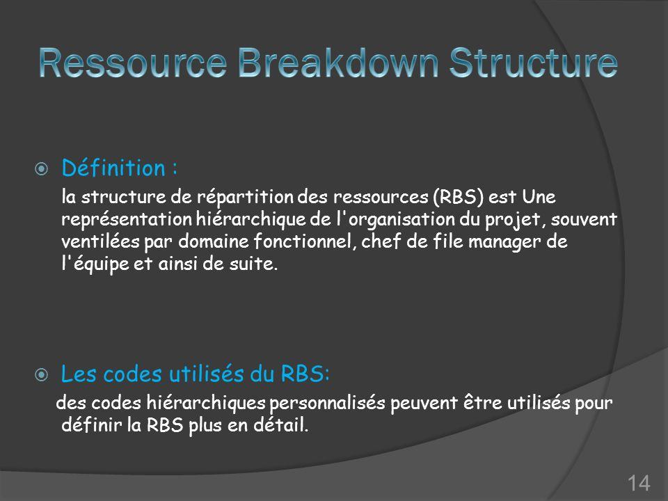 Définition : la structure de répartition des ressources (RBS) est Une représentation hiérarchique de l organisation du projet, souvent ventilées par domaine fonctionnel, chef de file manager de l équipe et ainsi de suite.
