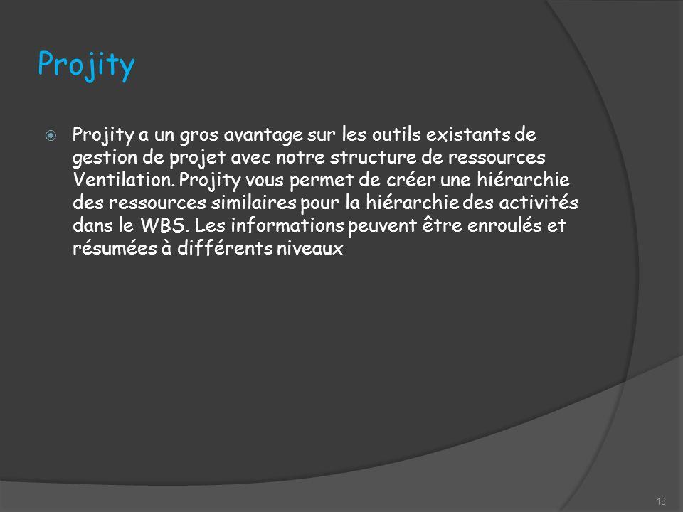 Projity Projity a un gros avantage sur les outils existants de gestion de projet avec notre structure de ressources Ventilation.