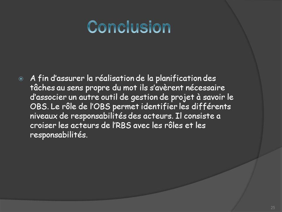 A fin dassurer la réalisation de la planification des tâches au sens propre du mot ils savèrent nécessaire dassocier un autre outil de gestion de projet à savoir le OBS.