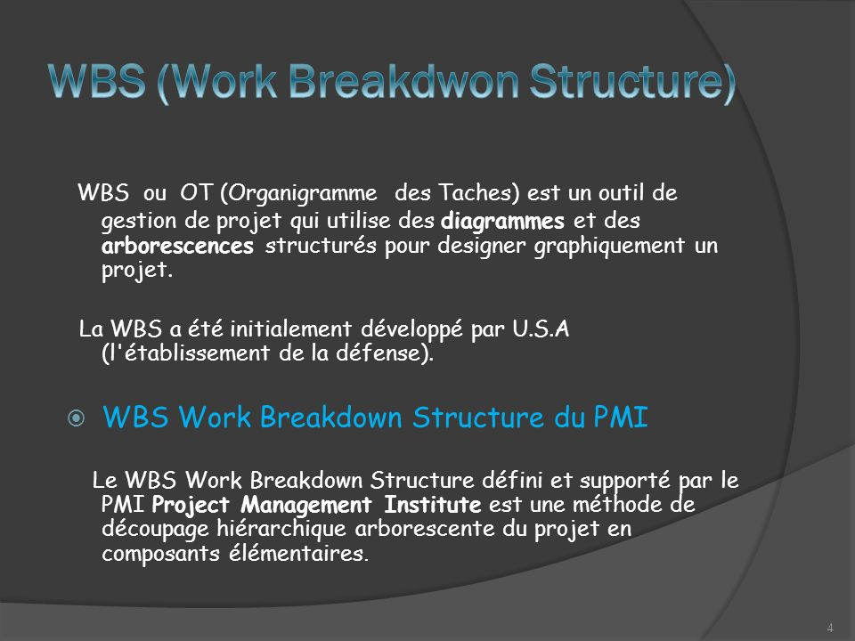 WBS ou OT (Organigramme des Taches) est un outil de gestion de projet qui utilise des diagrammes et des arborescences structurés pour designer graphiquement un projet.