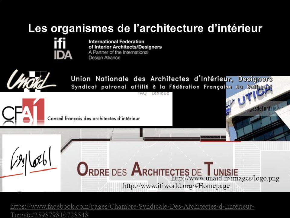 Les organismes de larchitecture dintérieur Chambre Syndicale des architectes dintérieur (Tunisie)- Utica pour lobtention des patantes https://www.facebook.com/pages/Chambre-Syndicale-Des-Architectes-d-Iintérieur- Tunisie/259879810728548 http://www.unaid.fr/images/logo.png http://www.ifiworld.org/#Homepage