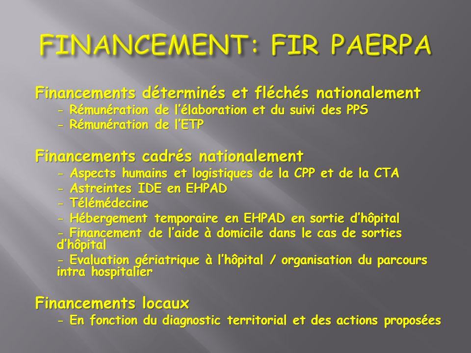 Financements déterminés et fléchés nationalement - Rémunération de lélaboration et du suivi des PPS - Rémunération de lETP Financements cadrés nationa