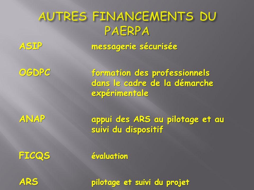 ASIP messagerie sécurisée OGDPC formation des professionnels dans le cadre de la démarche expérimentale ANAP appui des ARS au pilotage et au suivi du