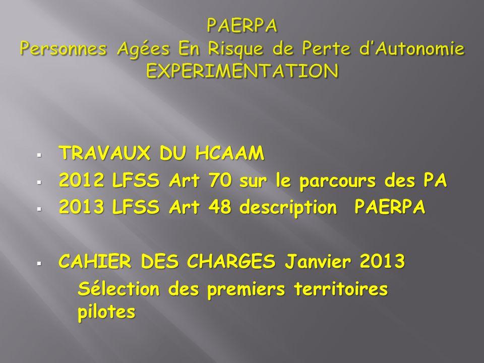 TRAVAUX DU HCAAM TRAVAUX DU HCAAM 2012 LFSS Art 70 sur le parcours des PA 2012 LFSS Art 70 sur le parcours des PA 2013 LFSS Art 48 description PAERPA