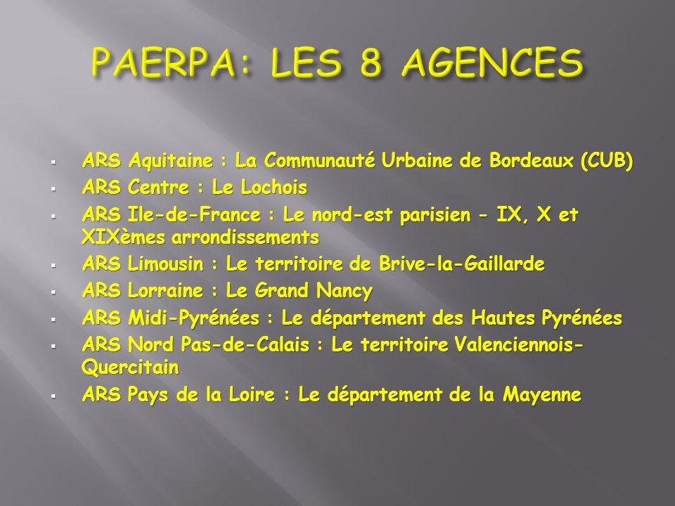 ARS Aquitaine : La Communauté Urbaine de Bordeaux (CUB) ARS Aquitaine : La Communauté Urbaine de Bordeaux (CUB) ARS Centre : Le Lochois ARS Centre : L