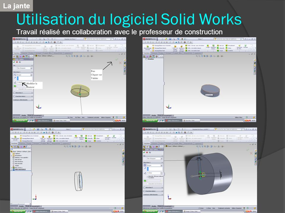 Utilisation du logiciel Solid Works Travail réalisé en collaboration avec le professeur de construction La jante