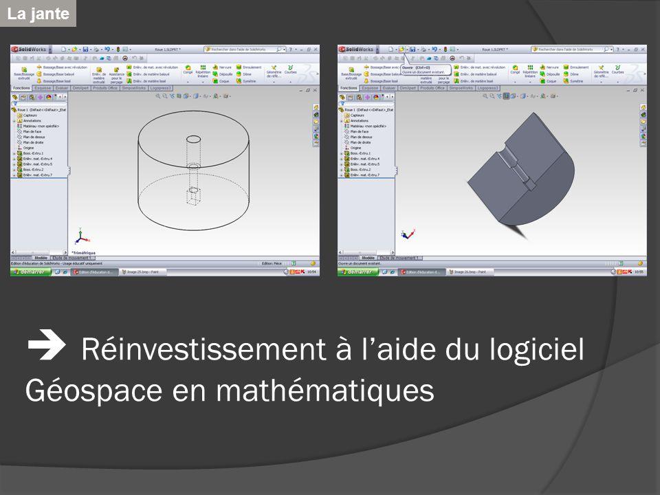 Réinvestissement à laide du logiciel Géospace en mathématiques La jante