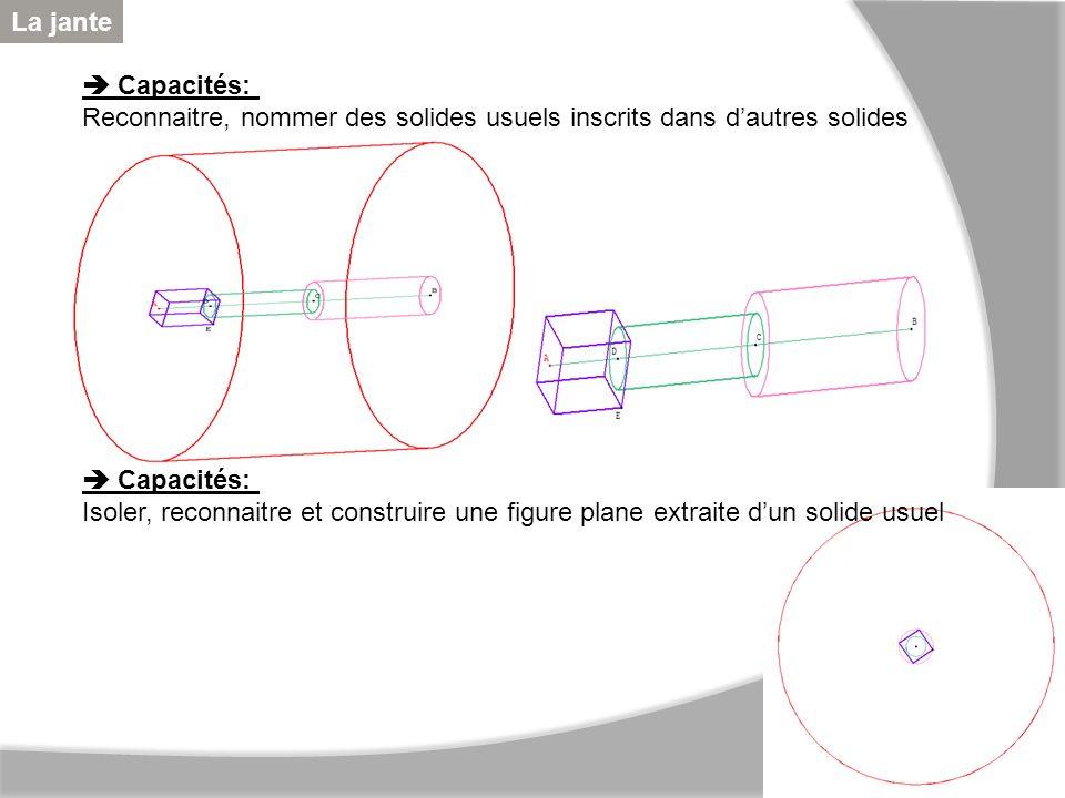 Capacités: Reconnaitre, nommer des solides usuels inscrits dans dautres solides Capacités: Isoler, reconnaitre et construire une figure plane extraite
