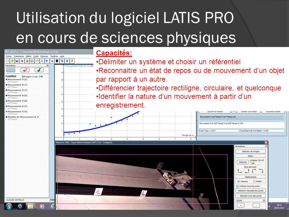 Utilisation du logiciel LATIS PRO en cours de sciences physiques Capacités: Délimiter un système et choisir un référentiel Reconnaitre un état de repo