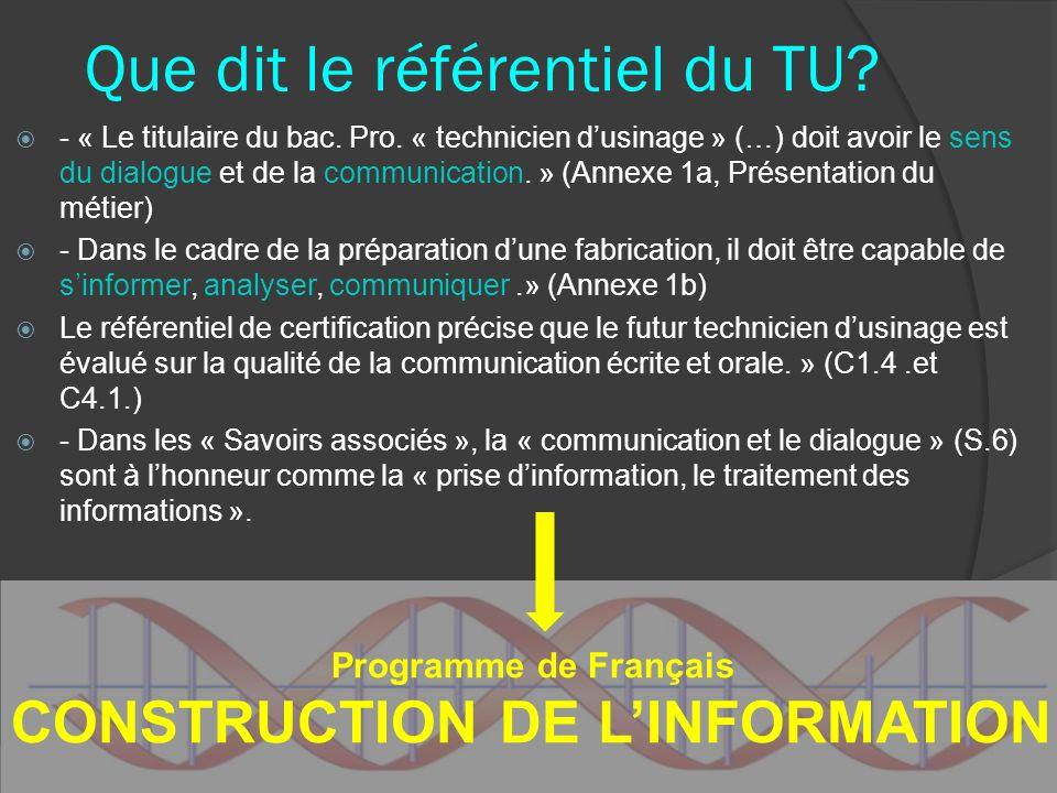 Que dit le référentiel du TU? - « Le titulaire du bac. Pro. « technicien dusinage » (…) doit avoir le sens du dialogue et de la communication. » (Anne