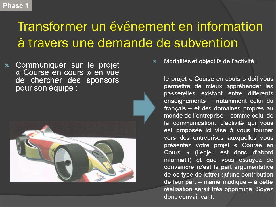 Transformer un événement en information à travers une demande de subvention Communiquer sur le projet « Course en cours » en vue de chercher des spons