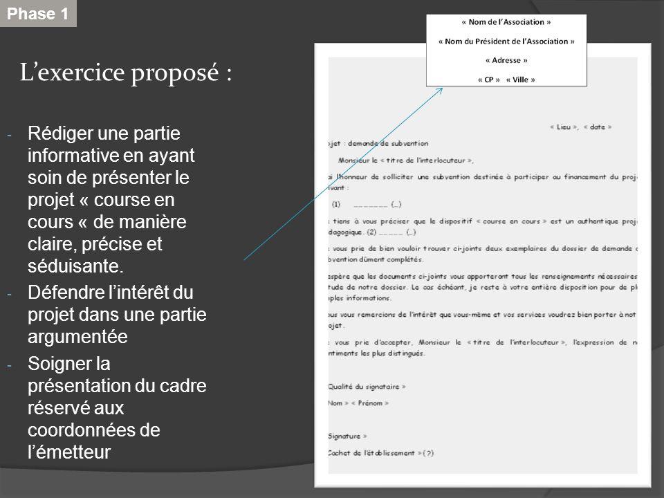 Lexercice proposé : - Rédiger une partie informative en ayant soin de présenter le projet « course en cours « de manière claire, précise et séduisante