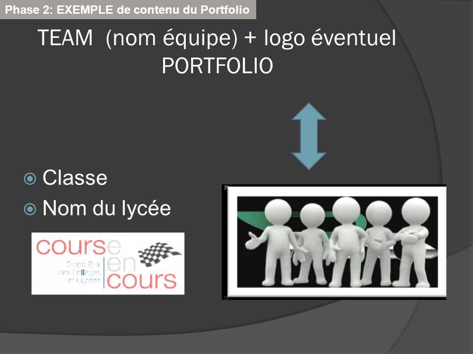 TEAM (nom équipe) + logo éventuel PORTFOLIO Classe Nom du lycée Phase 2: EXEMPLE de contenu du Portfolio