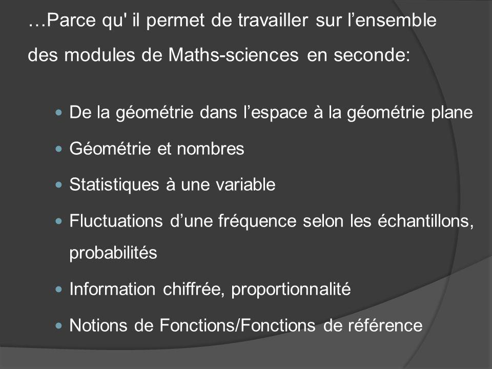 …Parce qu' il permet de travailler sur lensemble des modules de Maths-sciences en seconde: De la géométrie dans lespace à la géométrie plane Géométrie