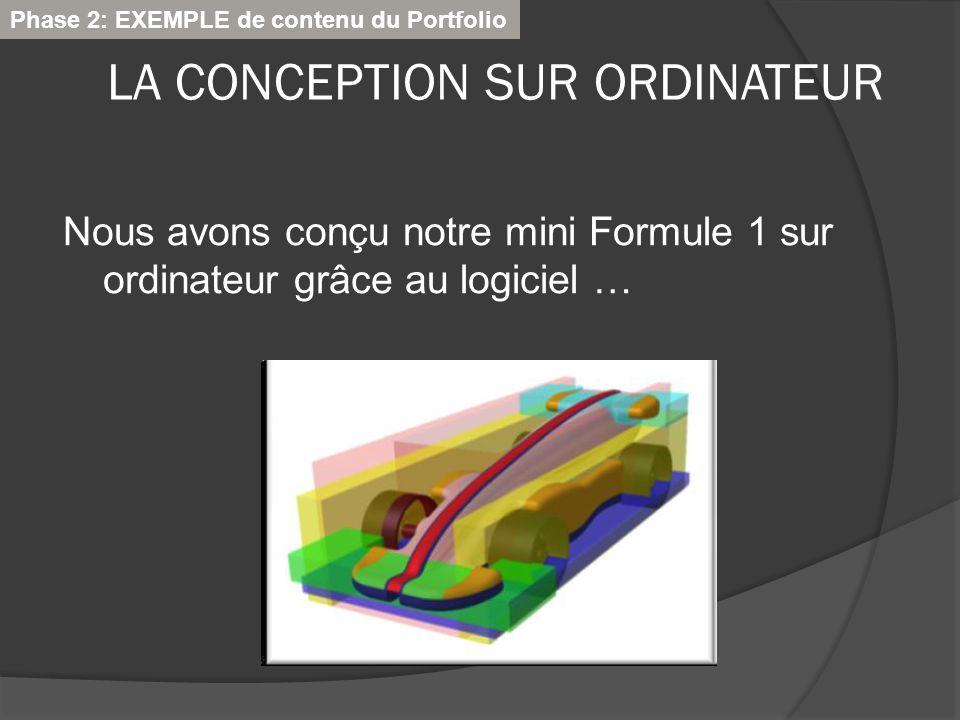 LA CONCEPTION SUR ORDINATEUR Nous avons conçu notre mini Formule 1 sur ordinateur grâce au logiciel … Phase 2: EXEMPLE de contenu du Portfolio