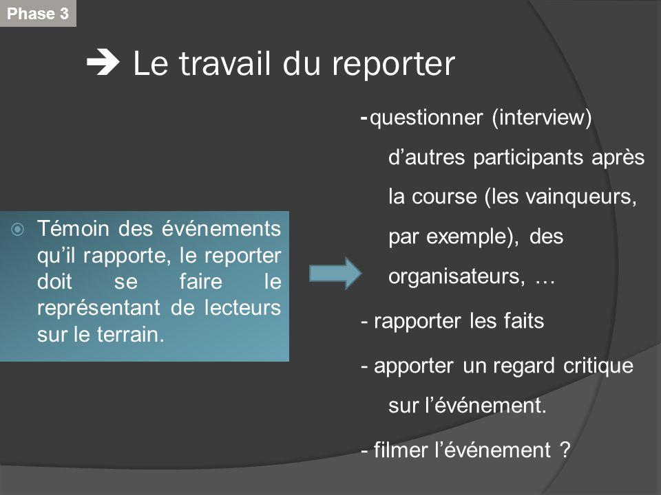 Le travail du reporter Témoin des événements quil rapporte, le reporter doit se faire le représentant de lecteurs sur le terrain. - questionner (inter