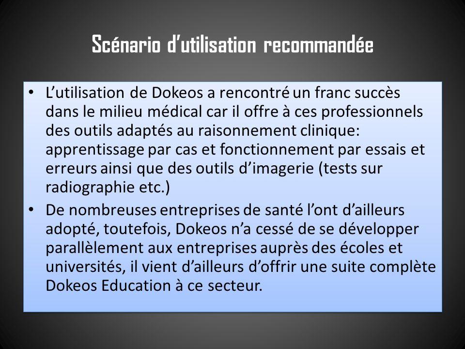 Scénario dutilisation recommandée Lutilisation de Dokeos a rencontré un franc succès dans le milieu médical car il offre à ces professionnels des outi
