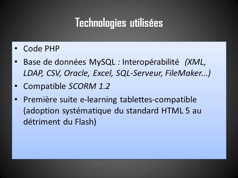 Technologies utilisées Code PHP Base de données MySQL : Interopérabilité (XML, LDAP, CSV, Oracle, Excel, SQL-Serveur, FileMaker...) Compatible SCORM 1