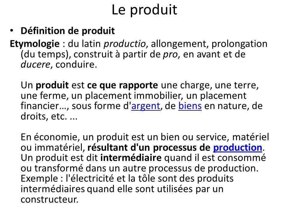 Le produit Définition de produit Etymologie : du latin productio, allongement, prolongation (du temps), construit à partir de pro, en avant et de ducere, conduire.