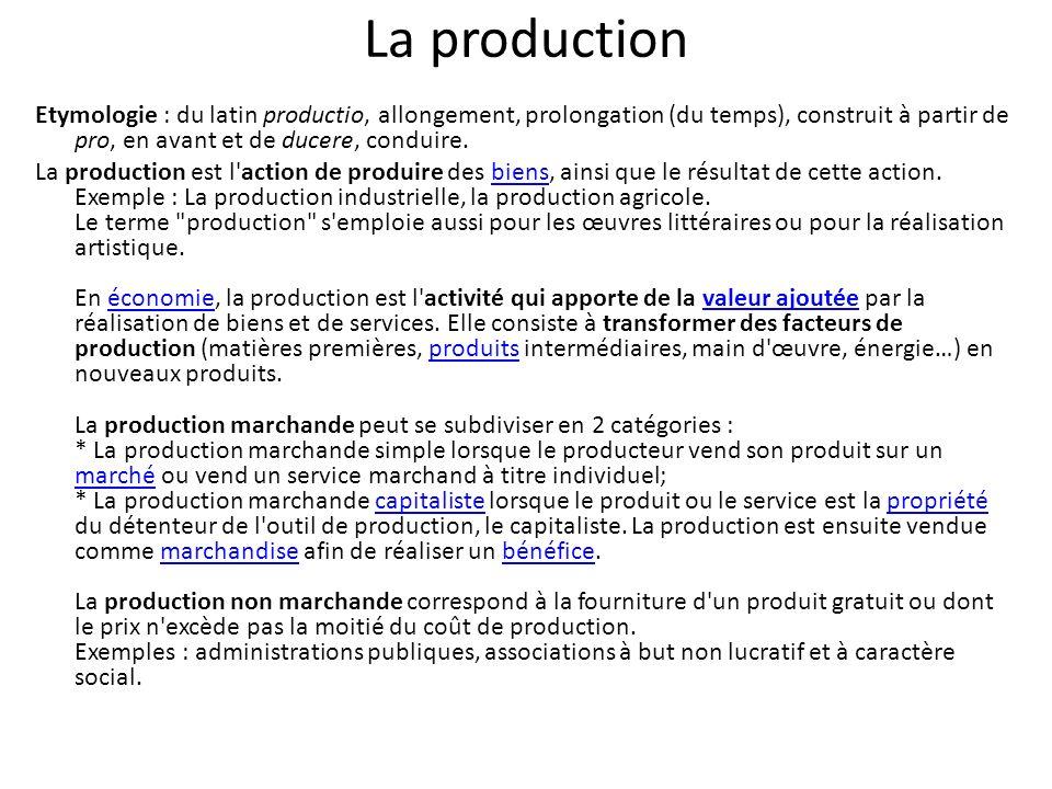 La production Etymologie : du latin productio, allongement, prolongation (du temps), construit à partir de pro, en avant et de ducere, conduire.