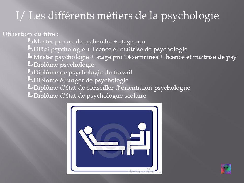 I/ Les différents métiers de la psychologie Larticulation avec des champs connexes: 6 métiers Où ? Hôpitaux; institutions spé.; écoles; prisons; tribu