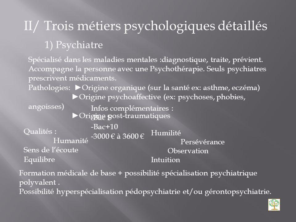 I/ Les différents métiers de la psychologie Utilisation du titre : Master pro ou de recherche + stage pro DESS psychologie + licence et maitrise de ps