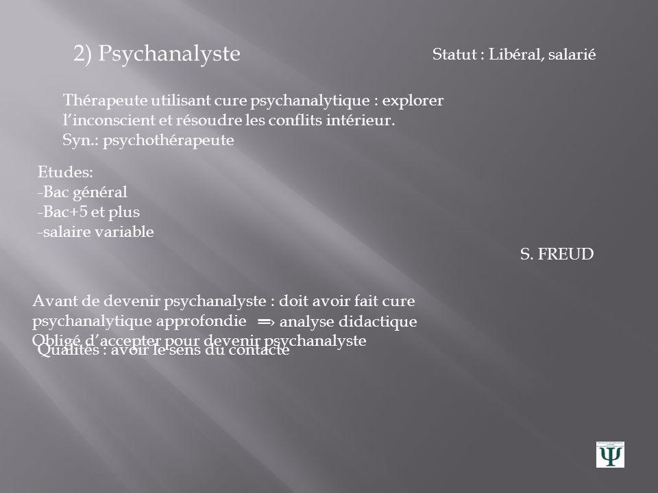 II/ Trois métiers psychologiques détaillés 1) Psychiatre Spécialisé dans les maladies mentales :diagnostique, traite, prévient. Accompagne la personne