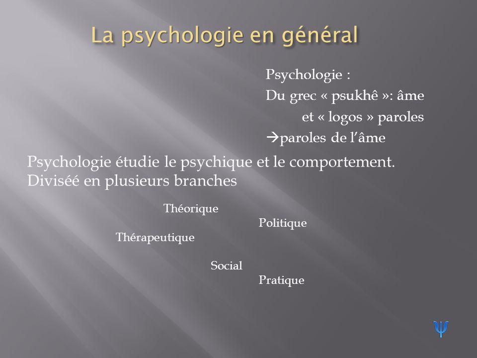 La psychologie en général Psychologie : Du grec « psukhê »: âme et « logos » paroles paroles de lâme Psychologie étudie le psychique et le comportement.