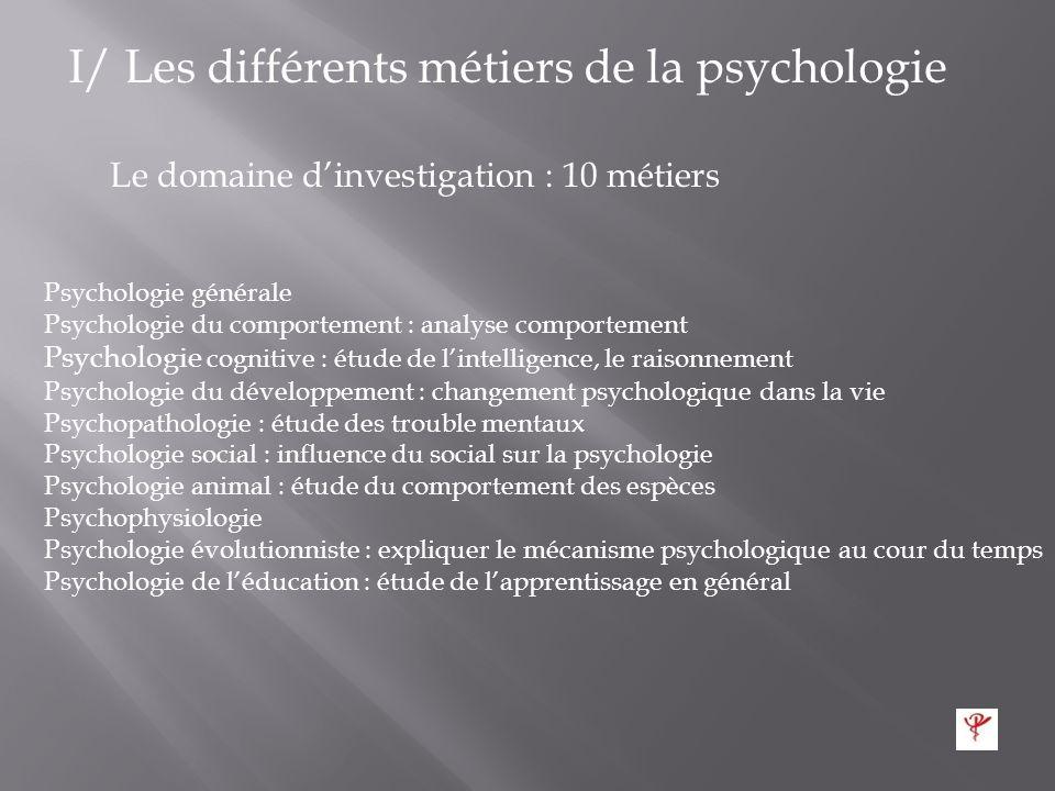 I/ Les différents métiers de la psychologie Ils sont 46 corps répartis en 5 groupes Le paradigme : 6 métiers reposant sur lobservation et faits Le com