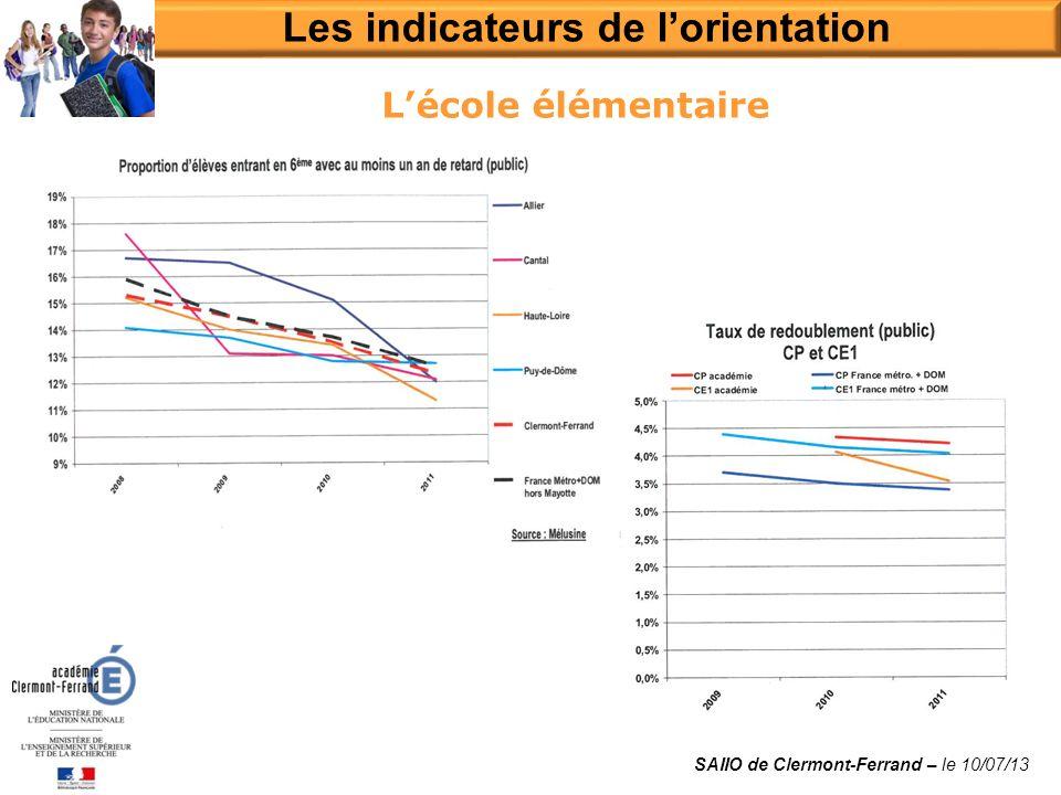 Lécole élémentaire Les indicateurs de lorientation SAIIO de Clermont-Ferrand – le 10/07/13