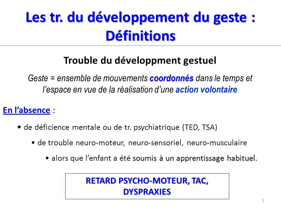 Les tr. du développement du geste : Définitions Trouble du développment gestuel coordonnés Geste = ensemble de mouvements coordonnés dans le temps et