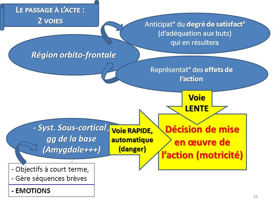 L E PASSAGE À L ACTE : 2 VOIES Région orbito-frontale - Syst. Sous-cortical, gg de la base (Amygdale+++) - effets de laction Représentat° des effets d