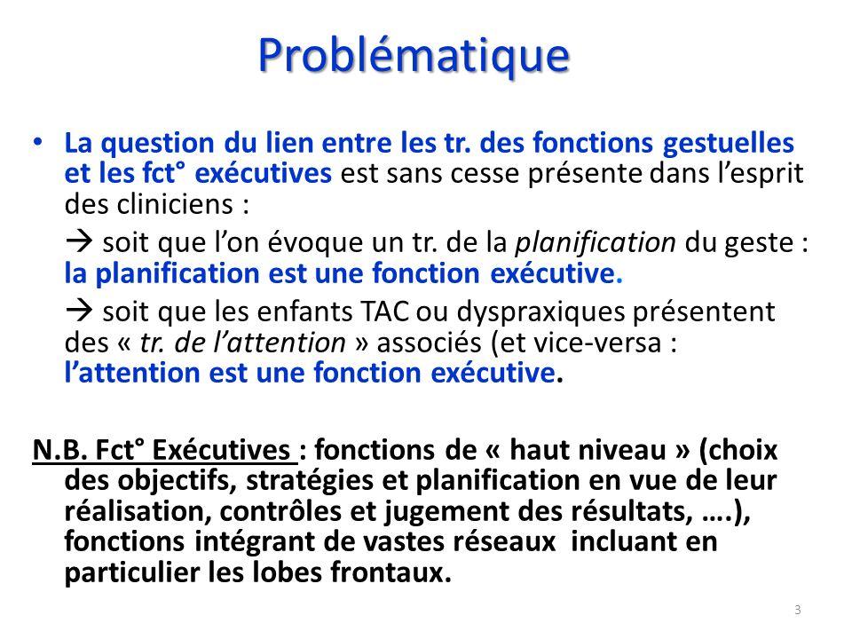 Problématique La question du lien entre les tr. des fonctions gestuelles et les fct° exécutives est sans cesse présente dans lesprit des cliniciens :