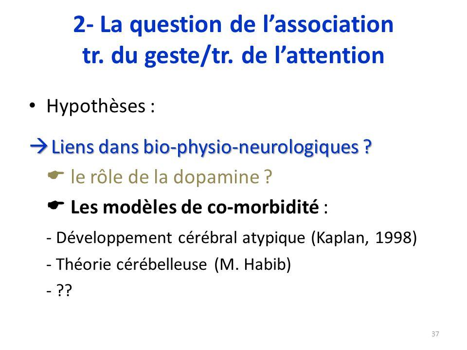 Hypothèses : Liens dans bio-physio-neurologiques ? Liens dans bio-physio-neurologiques ? le rôle de la dopamine ? Les modèles de co-morbidité : - Déve